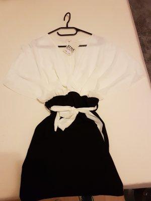 Robe portefeuille blanc-noir