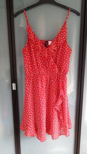 Kleid wickeloptik, polka dots, volants rot 36/38