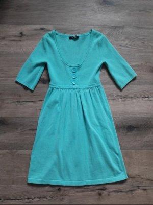 Kleid Woll Strick hellblau türkis von Melrose in 34 XS 3/4-Ärmel Mini
