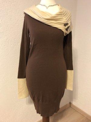 Wollen jurk bruin-licht beige