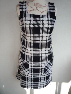 Kleid XS 34 S 36 A-Linie kariert Fifties 50er Mini schwarz weiß Karo