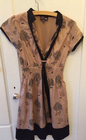 Kleid Yumi, beige-schwarz mit Katzen und Bäumen Gr.S