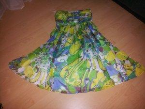 Kleid - Zara- 100% Seide - Sommer - Grün - Lila - Trägerlos - L