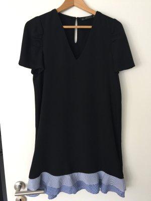 Kleid zara basic schwarz mit Volants 36