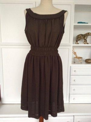 Kleid Zara Braun Chiffon Gr. S / 36 Dunkelbraun Sommerkleid