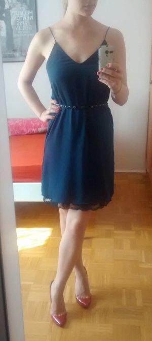 Kleid Zara Gr. XS 34 blau spitze Etui A-Linien dunkelblau lace elegant blogger