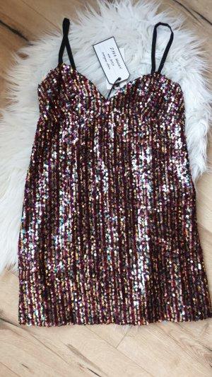 Kleid Zara Paielleten Blogger Bunt Glitzer Party Silveste Tunika Sommer Bluse Oberteil S