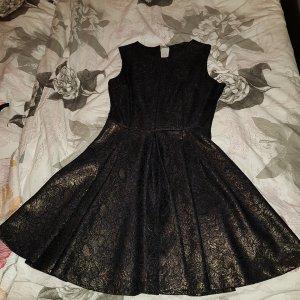 Next Vestido negro-color oro
