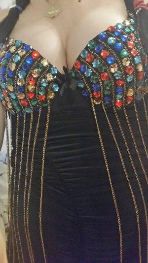 Kleider in Schwarz mit Bunte Steinchen