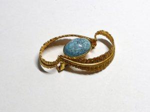 Kleiderbrosche Vintage, mit türkisfarbenen Stein