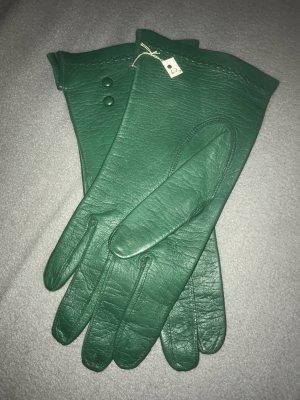 Gants en cuir bleu cadet-vert
