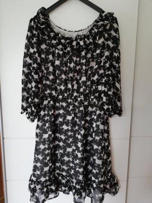 100% Fashion Robe chiffon blanc-noir