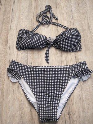 bpc Bikini blu scuro-bianco Tessuto misto