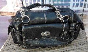 kleine Baguette - Handtasche schwarz / silber