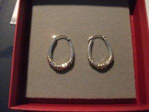 kleine Bicolor Ohrringe / Creolen, oval, echt Silber mit Gold
