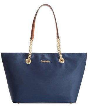 kleine Calvin Klein Nylon Tote / Tasche dunkelblau mit braunen Henkeln