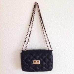 Kleine Coco Tasche Gesteppt Quilted Handtasche Leder Schwarz Gold Clutch Kette Blogger