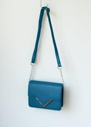 Kleine Crossbody Bag Umhängetasche Petrol Clutch Tasche Türkis Blau silber Atmosphere Primark