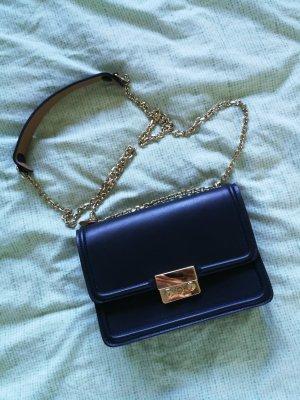 Kleine Dunkelblaue Tasche mit Goldträgern aus Echtleder