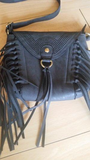 Kleine Fransen Tasche schwarz