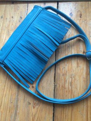 Kleine Fransentasche zum Umhängen,türkisblau neu