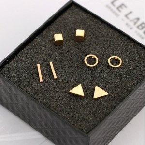 Kleine geometrische Ohrstecker - gold - Dreiecke Kreise Stäbe Würfel