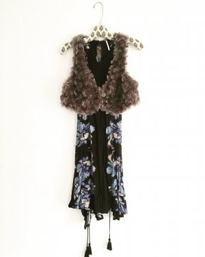 Vintage Fake Fur Vest light brown-grey brown