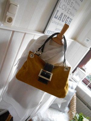 Carry Bag dark yellow suede