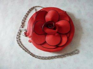 kleine Kunstleder Tasche Rosen rot Damen Handtasche mit silber Kette Umhängetasche NEU
