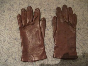 Leather Gloves brown red leather