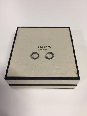 Kleine Links London Creolen Silber mit Brillianten