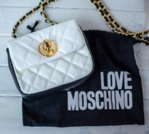 kleine love Moschino Tasche zum Umhängen schwarz weiß gold Umhängetasche