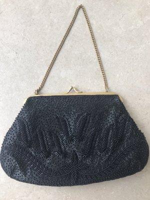 Kleine Perlentasche Schwarz Vintage