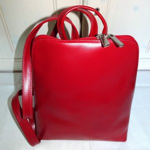 Kindergarden Backpack red leather