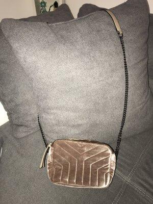 Kleine Samt Tasche Roségold Beige Silber Umhängetasche