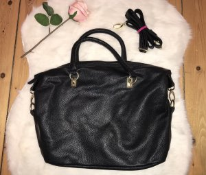 H&M Bolso barrel negro-color oro