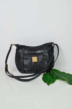 Kleine Schwarze Vintage Handtasche aus Leder