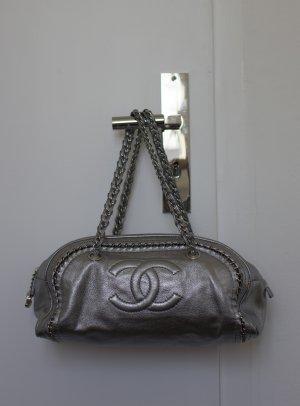 Chanel Sac à main argenté cuir