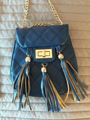 Kleine Steptasche Fransentasche blau/Petrol
