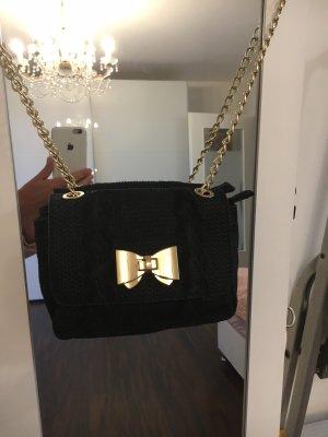 Genuine Leather Minitasje zwart-goud