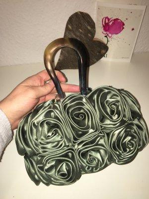 Kleine Tasche, grün, Seide, Rosen