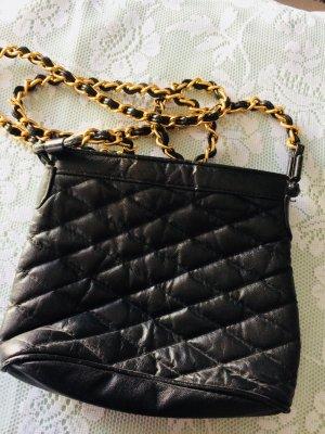 Kleine Umhängetasche Fake Leder  schwarz gold
