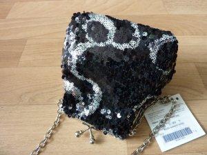 kleine Umhängetasche mit Perlen Sack Tasche Abendhandtasche Handtasche Pailetten Glitzer Bloggerstyle Weihnachten Silvester Accessoires