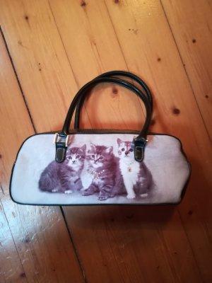 Kleine Vintage Tasche mit Katzenmotiv