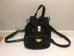 Backpack black-gold-colored synthetic fibre