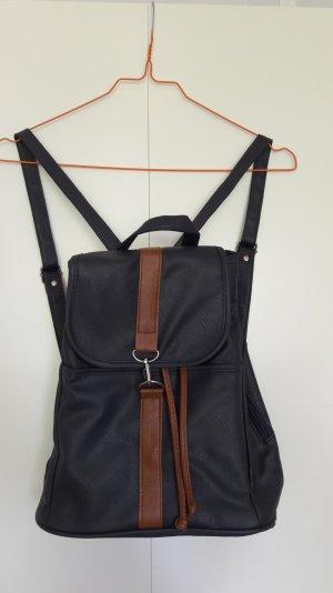Backpack dark blue-cognac-coloured imitation leather