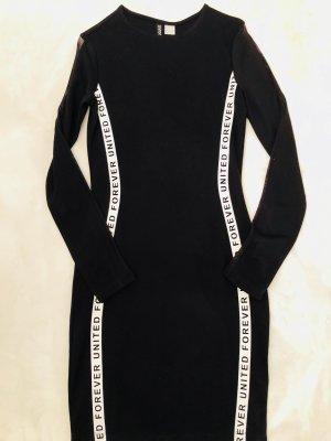 H&M Abito jersey nero-bianco