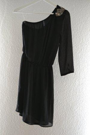 Kleines Schwarzes Oneshoulder Abendkleid mit Pailettenapplikation Bershka