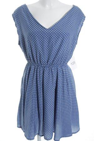Kling Blusenkleid kornblumenblau-weiß Punktemuster Marine-Look