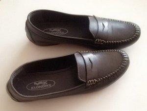 KLONDIKE Leder Schuhe / Slipper in Dunkelblauf Gr. 40 wie neu schmale Füße